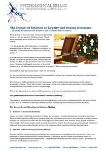 The Impact of Emotion on Loyalty and Buying Decisions