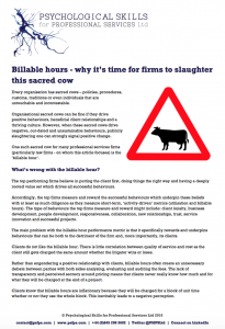 Billable Hours - why it's time for firms to slaughter this sacred cow