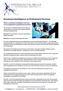Emotional Intelligence in Professional Services